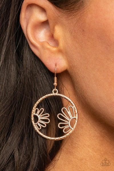 Pre-Order Demurely Daisy - Rose Gold Daisy framed Hoop Earrings