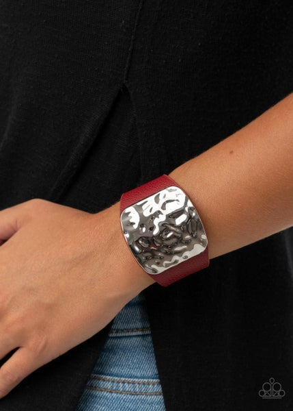 Pre-Sale - Brighten Up - Red Leather with a Hammered Silver Centerpiece Snap Bracelet