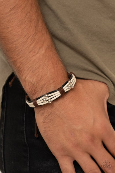 Breaking All The Rules - Black Leather with silver beads on white & brown cordage slip knot/pull-tight Bracelet