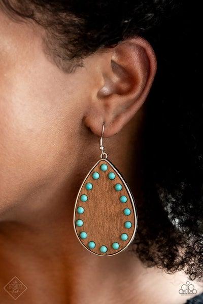 Rustic Refuge - Brown teardrop wood with Turquoise Beads Earrings