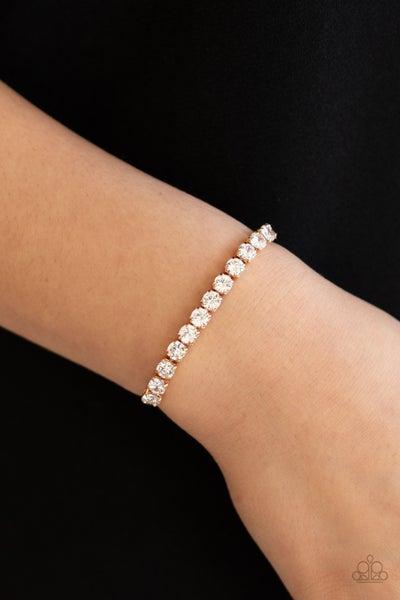 Red Carpet Rival - Gold with white rhinestones slip knot/pull-tight Bracelet