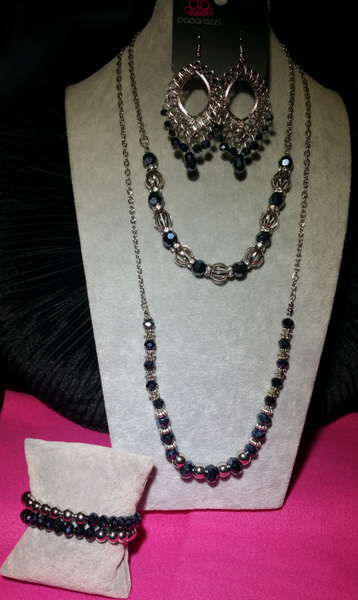 Metro Majestic, Stratosphere Sparkle, Just Say Noir & Chroma Color -  Blue Crystal & Silver 4 Piece Set