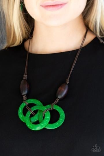 Bahama Drama - Brown Wooden Beads with Green Wooden Hoops Necklace & Earrings