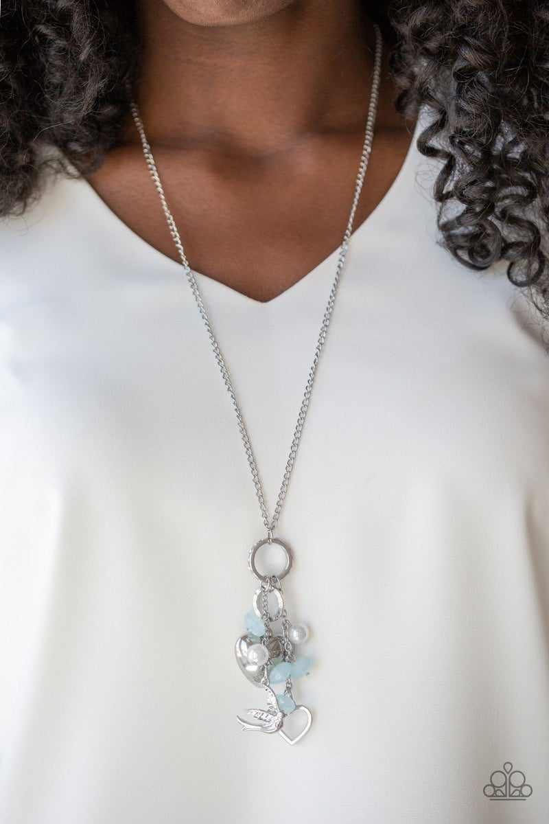 I Will Fly - Silver with Heart Charms, Blue & White Moonstone Beads Necklace & Earrings