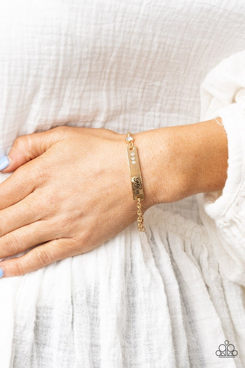 """Mom Always Knows - Gold plate stamped """"Mom"""" with a rhinestone Bracelet"""