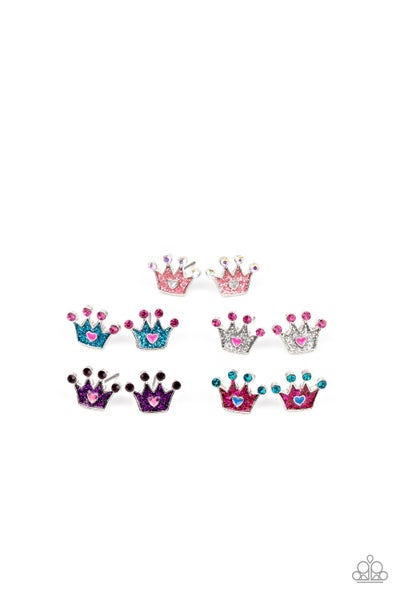 Assorted Colors of crowns with rhinestone Earrings for Kids or the Kid at Heart