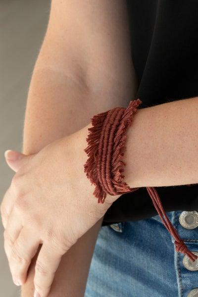 Make Yourself at HOMESPUN - Brown Macrame Fringe Pull Tight Bracelet