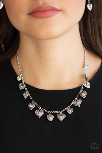 Pre-Sale - Lovely Lockets - Dangling Silver Heart Charms with a Pink Rhinestone Center Necklace & Earrings