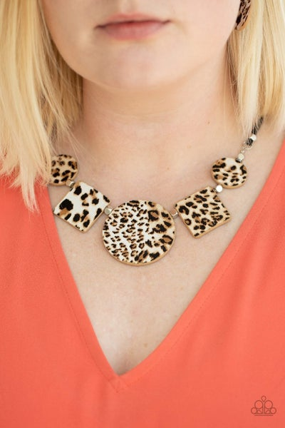 Here Kitty Kitty - Brown Cheetah Print Necklace