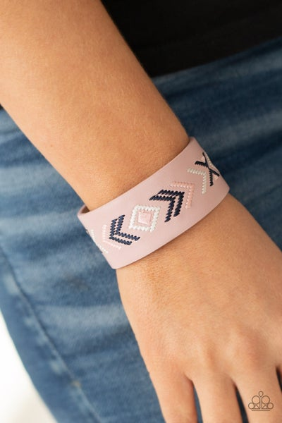 Cliff Glyphs - Pink, Blue & White tribal patters stitched on a Pink Leather Snap Bracelet
