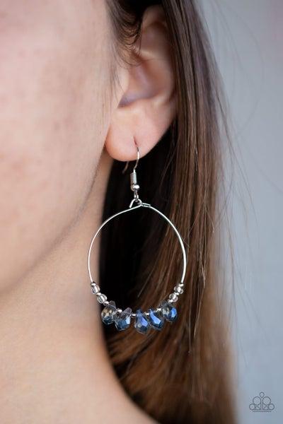Holographic Hoops - Iridescent Blue Crystals Hoop Earrings