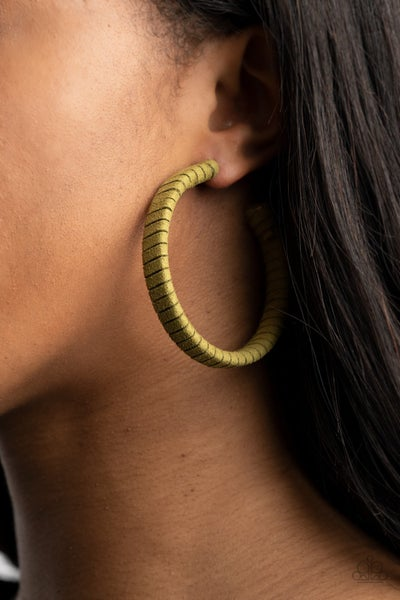 Pre-Order Suede Parade - Green Suede wrapped Hoop Earrings