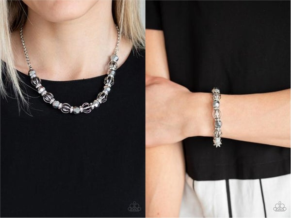 Paparazzi Metro Majestic & Metro Squad - Silver & Glittery Hematite Rhinestone Necklace, Earrings & Bracelet Set