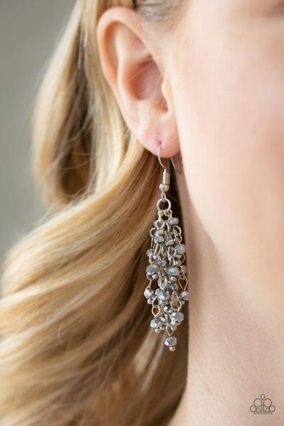 A Taste Of Twilight - Silver Fringe with metallic & crystal beads Earrings