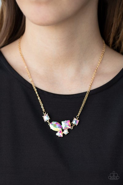 Constellation Collection - Gold Necklace with Iridescent Rhinestones Necklace