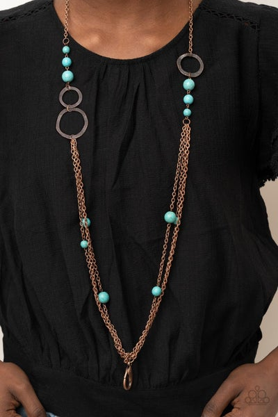 Local Charm - Copper Trio of chains with Turquoise Stones & Lobster Claw Lanyard Necklace & Earrings
