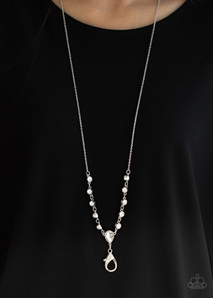 Pre-Sale Unfathomable Fierceness - Silver with White Rhinestones Lanyard Necklace