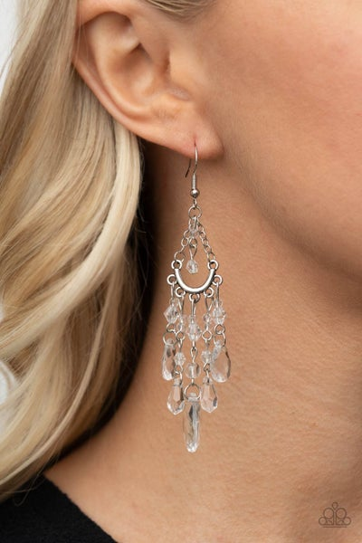 Pre-Order Paid Vacation - Silver with Teardrop White Crystal Bead Chandelier Earrings