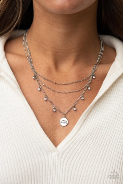 """Ode To Mom - Silver """"Mom"""" pendant with White Rhinestones Necklace & Earrings"""