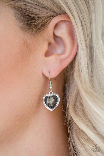 Real Romance - Silver with Smoky Silver Rhinestone Heart-Shaped Earrings
