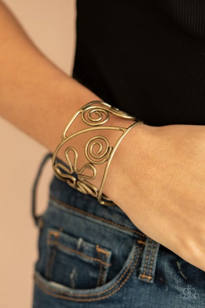 Pre-Sale Groovy Sensations - Floral Brass Cuff Bracelet