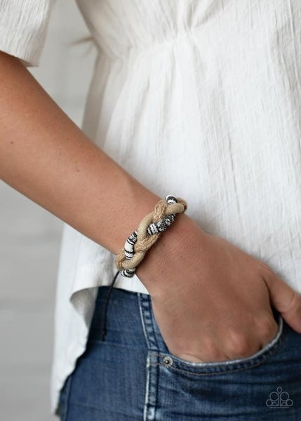 Free RENEGADE - Suede, Twine with Black & White Cloth Pull-Tight Bracelet