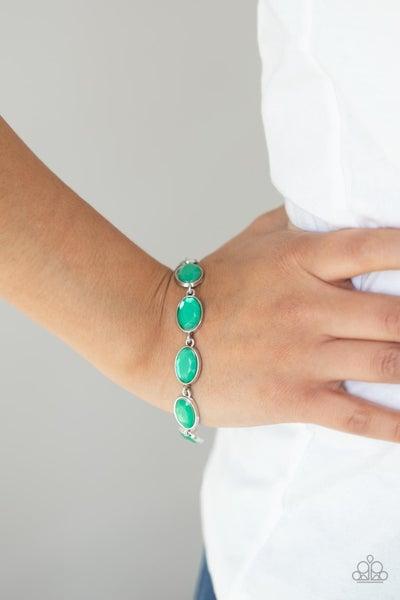 Smooth Move - Green Oval Moonstone Gems - Bracelet