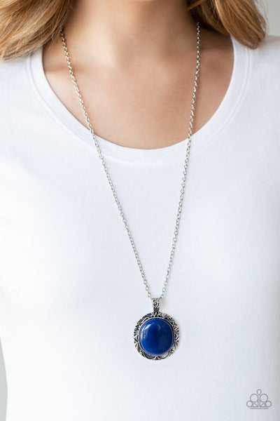 Stone Aura - Silver with a large oval Blue Moonstone Necklace & Earrings