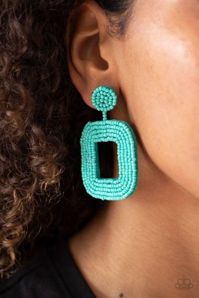Beaded Bella - Blue Seed Bead Earrings