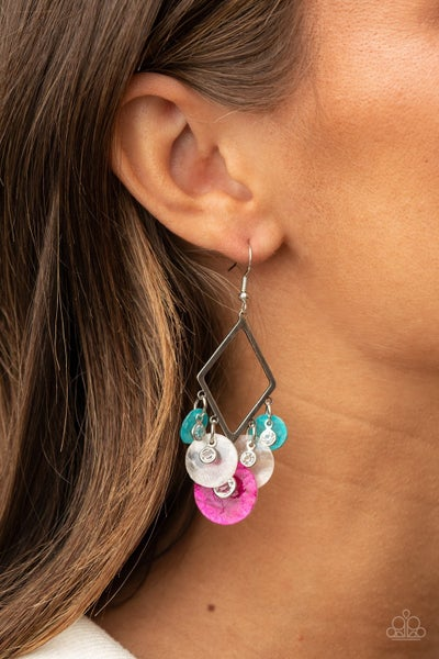 Pre-Order Pomp And Circumstance - Multi-Pink, Blue & White shell-like discs Earrings