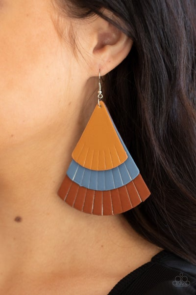 Pre-Sale Huge Fanatic - Tan, Blue & Brown Leather Earrings