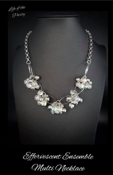 Pre-Order Effervescent Ensemble - Multi-Iridescent & Silver Beaded Necklace & Earrings - July 2021 Life of the Party Exclusive