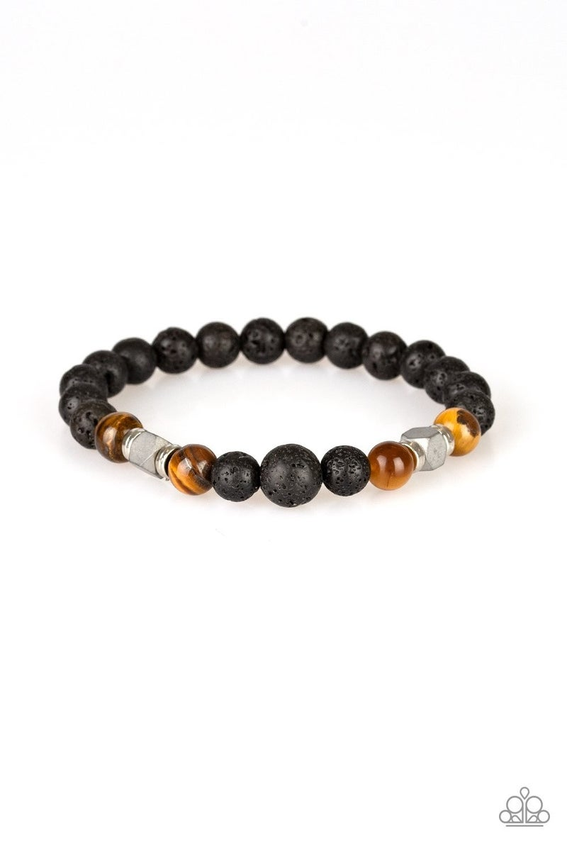 Strength - Brown Cat's Eye Stones with Lava Beads Bracelet