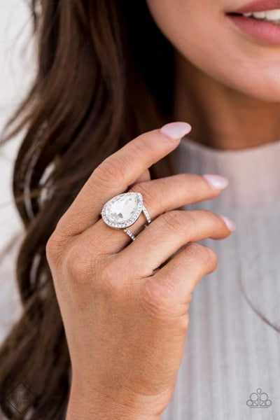 BLINGing Down The House - Silver with Large Tearshaped Rhinestone Ring