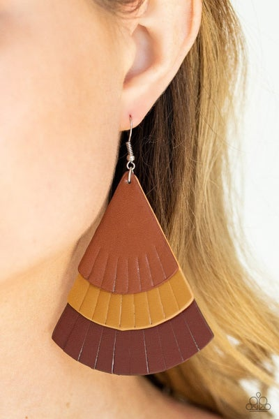 Pre-Sale Huge Fanatic - Multi shades of Brown Leather Earrings