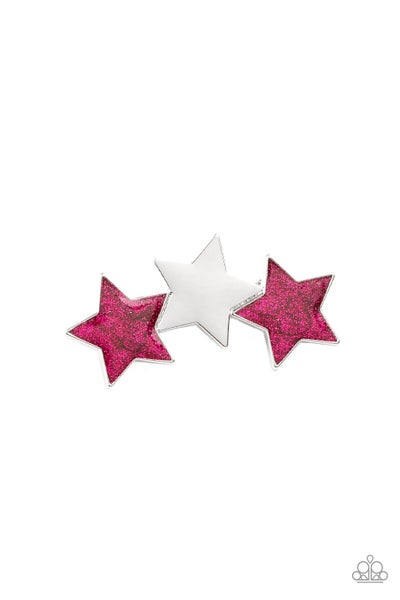 Dont Get Me STAR-ted!- Pink & White Rhinestine Hairclip
