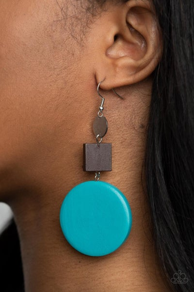 Modern Materials - Silver with Brown Square & Blue Circle Wood Earrings