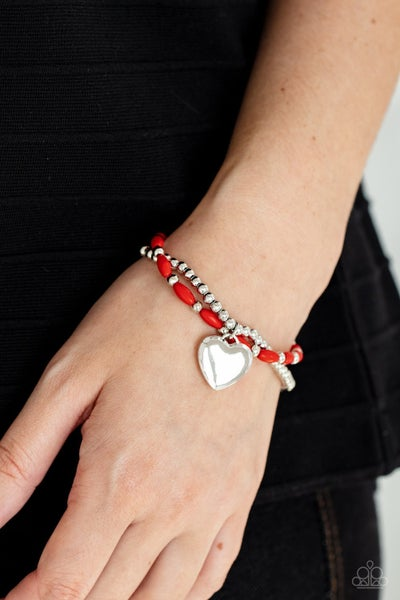 Candy Gram - Silver with Red Beads and & Silver Heart Charm Stretch Bracelet