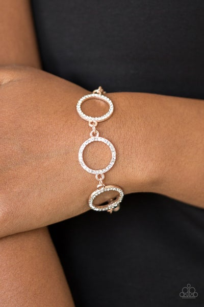 Pre-Sale Dress The Part - Rose Gold with white rhinestone circles Bracelet