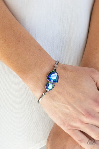 Deep Space Shimmer - Silver with Multi Iridescent Oil Spill Gems Bracelet