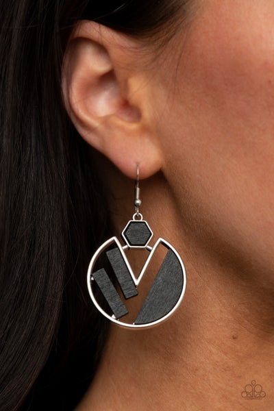 Petrified Posh - Silver with Geometric Black wooden inserts Earrings