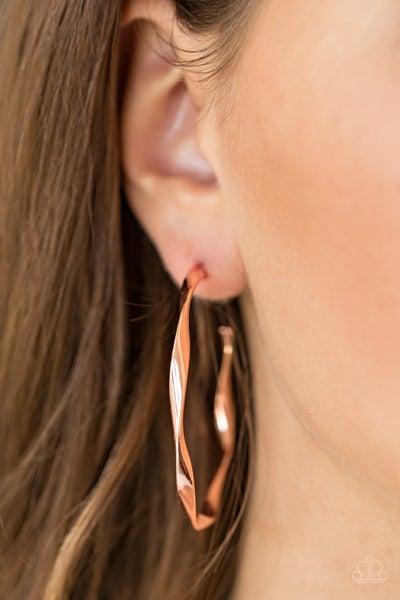 Plot Twist - Copper Hoop Eearrings