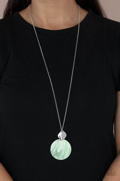 Tidal Tease - Silver with Green shell-like disc Necklace & Earrings