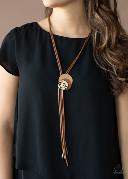 Im FELINE Good - Brown Bolo-Style with Mohair Cheetah Print Accents Necklace - 11-20 Live of the Party Exclusive