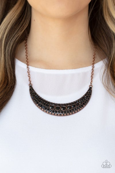 Moon Child Magic - Copper with Black Rhinestones Necklace & Earrings