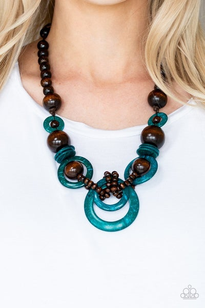 Boardwalk Party - Brown Wood with Blue Wooden Hoops Necklace & Earrings