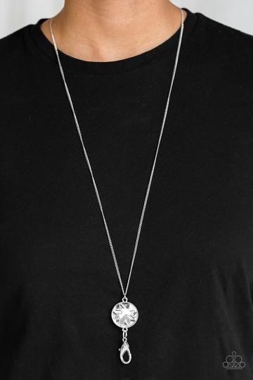 Dauntless Diva - White Rhinestone - Silver Lanyard