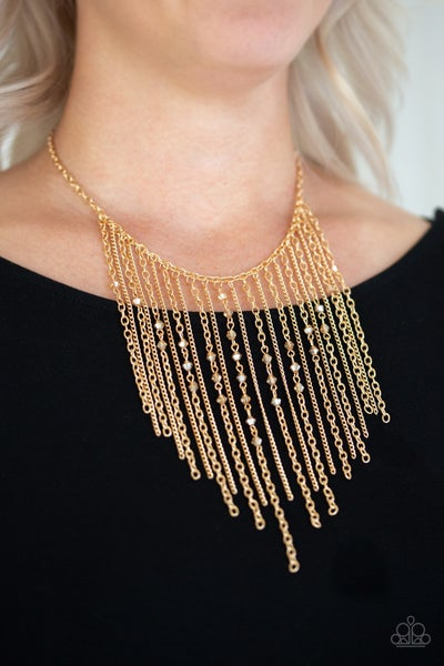 First Class Fringe - Gold Fringe with Gold Crystals Necklace with Earrings