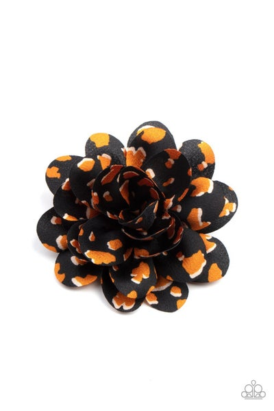 Pre-Order Panama Picnic - Black & Yellow Animal Print Hair Bow Clip