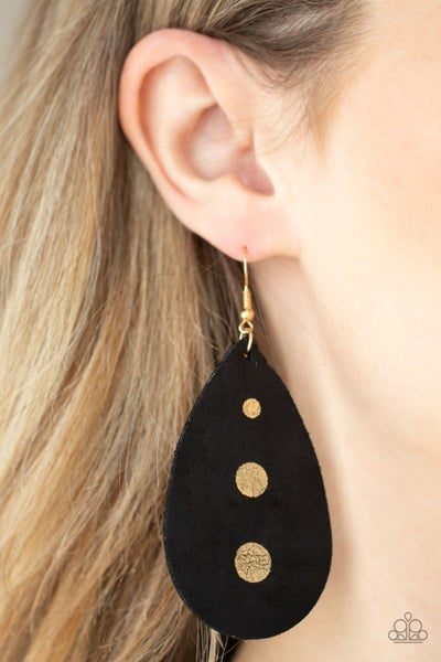Pre-Order Rustic Torrent - Black Leather Teardrops with 3 Gold Paint Drop Earrings